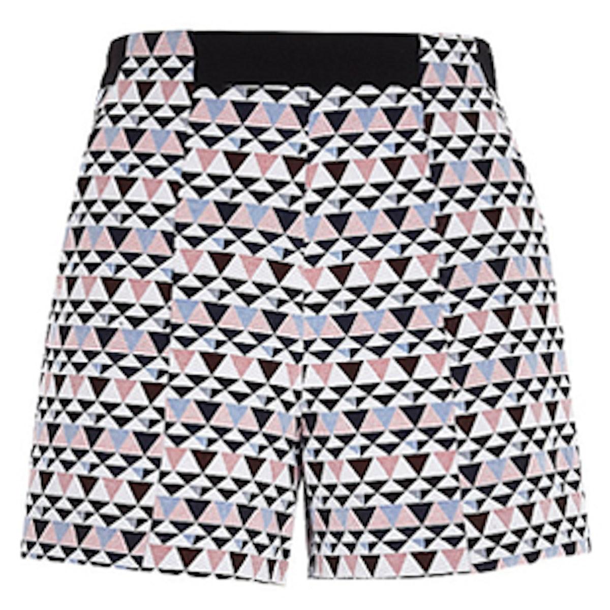 White Geometric Print Shorts