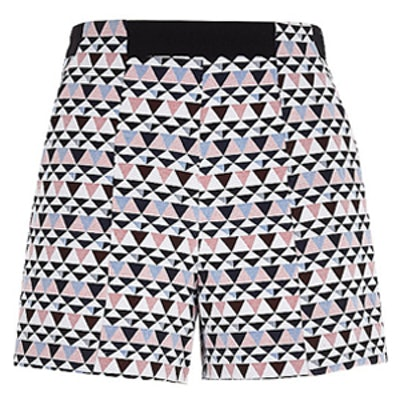 White Geometric Print Shorts