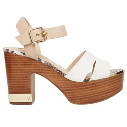 Through Multi Strap Wood Effect Heeled Sandals