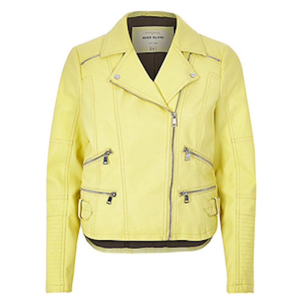 Light Yellow Zip Biker Jacket