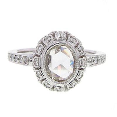 .98 Carat Oval Cut Diamond & 18K White Gold Ring