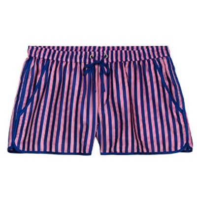 Red Stripe Silk Shorts