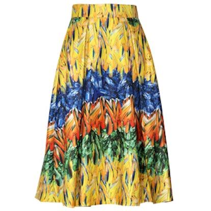 Feather Print Techno Midi Skirt