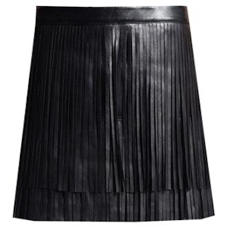 Faux Leather Fringe Mini Skirt