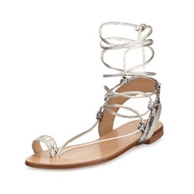 Lasso Metallic Lace-Up Gladiator Sandal