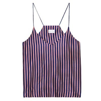 Red Stripe Silk Top