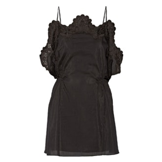 Crochet-Trimmed Poplin Mini Dress
