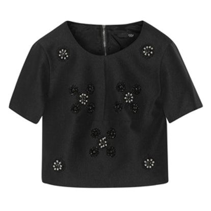 Cropped Bead-Embellished Crepe Top