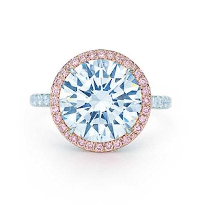 5.31 Carat Round Cut Diamond, Fancy Vivid Pink Diamonds & 18K Rose Gold & Platinum Ring, Price Upon ...