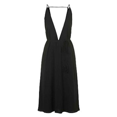 Plunge-Neck Midi Dress