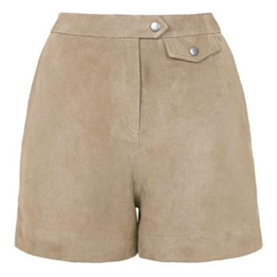High-Waisted Suede Shorts