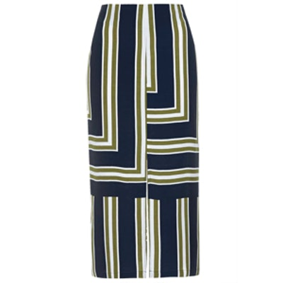 Striped Split Midi Skirt