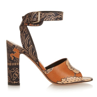 Printed-Leather Sandals