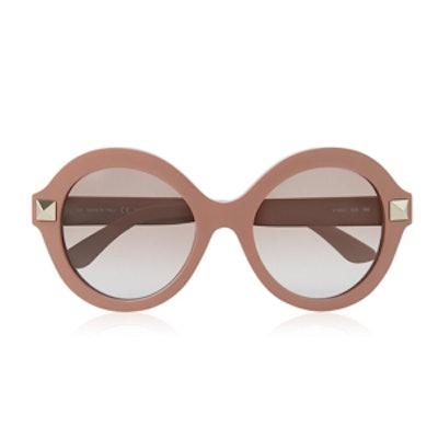 Round Frame Stud Sunglasses