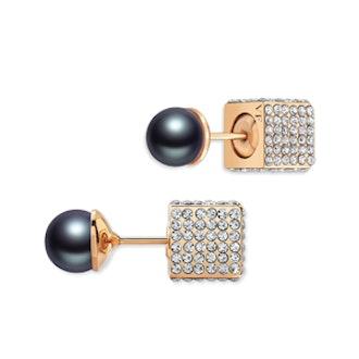 Double Cubo Pearl Earrings