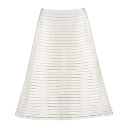 Denim Mesh Midi Skirt