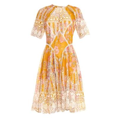 Confetti Scallop Floral Print Dress