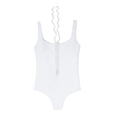 Pique Lace-Up Swimsuit