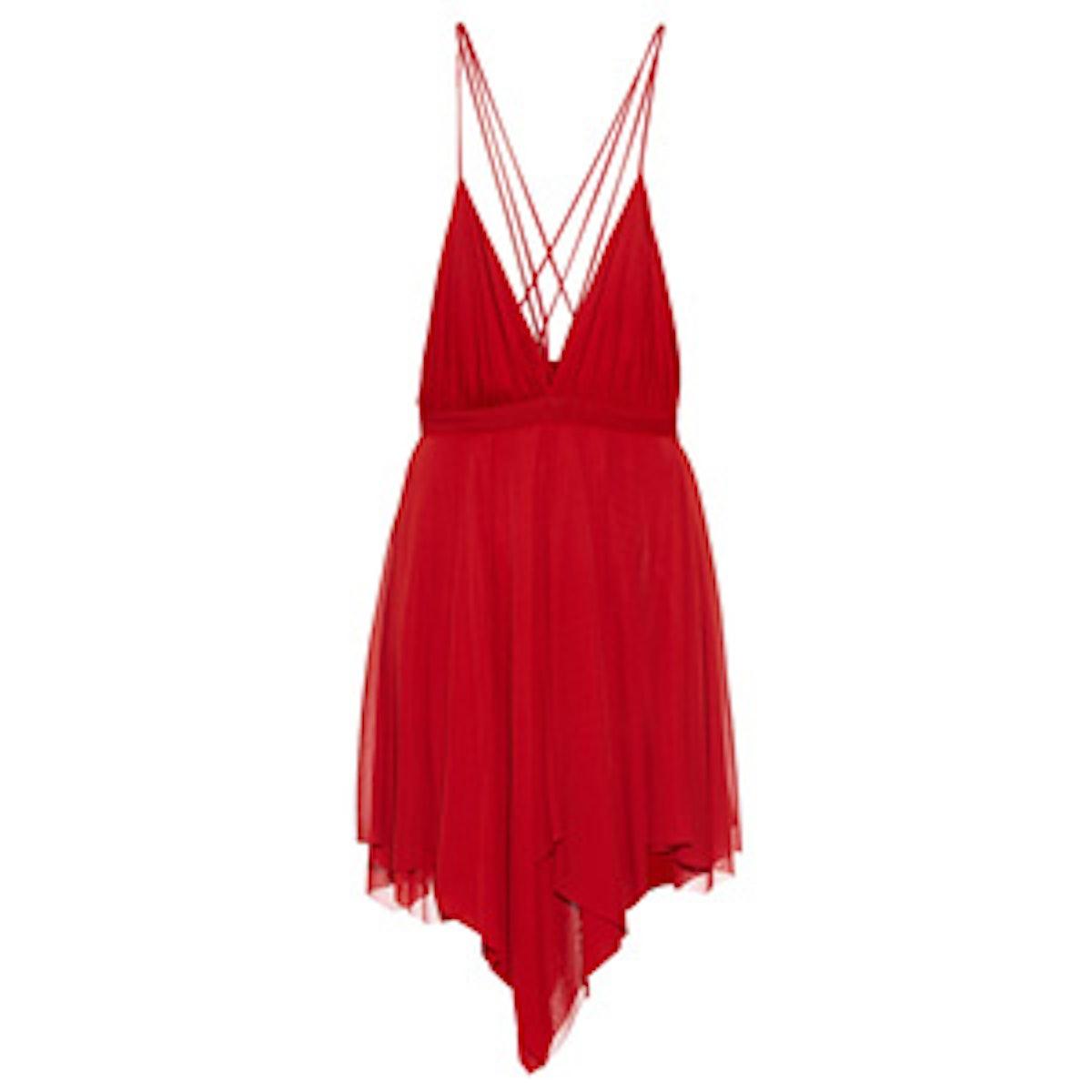 Deep V Draped Crepe Dress