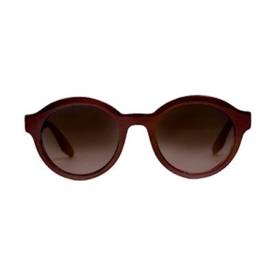 'Carnaby' Round Maroon Sunglasses