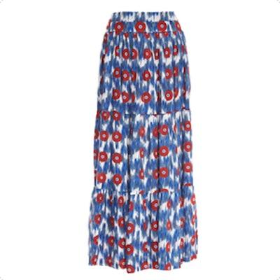 Ikat-Print Tiered Maxi Skirt
