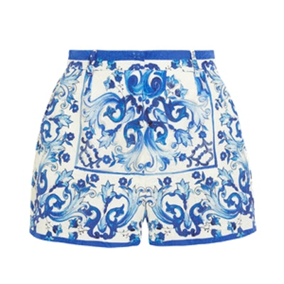 Printed Brocade Shorts