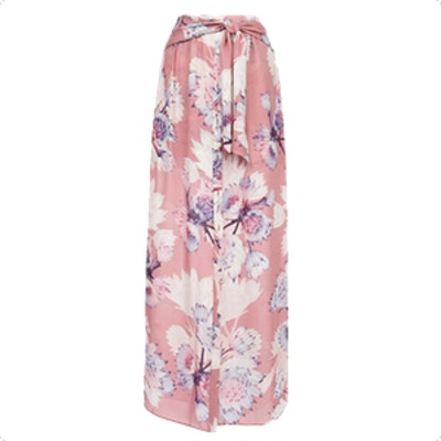 Floral Print Button Front Skirt