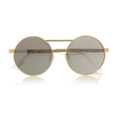 Gold-Toned Mirrored Sunglasses