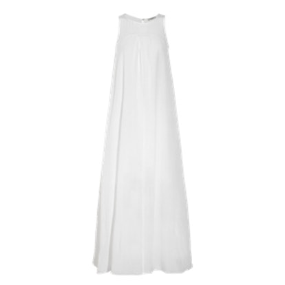 Shirred Crinkled Cotton and Silk-Blend Maxi Dress
