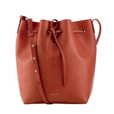 Coated Leather Bucket Bag