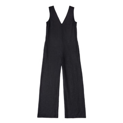 Washed Linen V Neck Jumpsuit