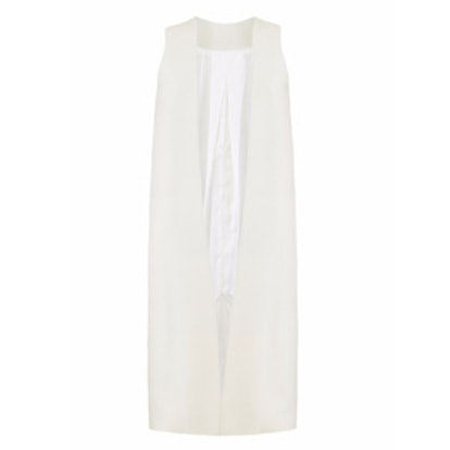 Raw Silk White Long Vest