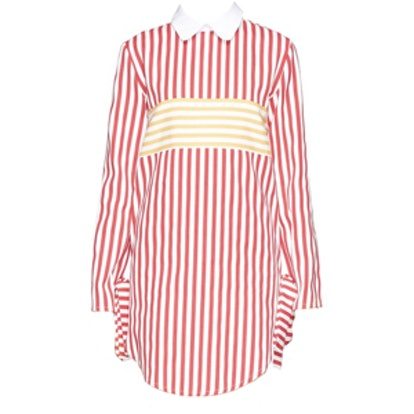 Stripe Twill Collar Dress