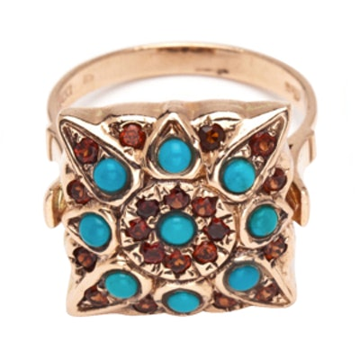 Compass Ring in Turquoise and Garnet
