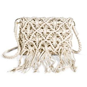 Crochet and Fringe Crossbody Bag