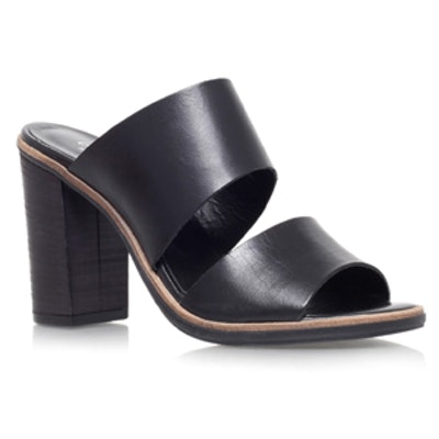 Black Mid Heel Sandals