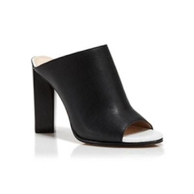 Slashed Leather Mule Sandals