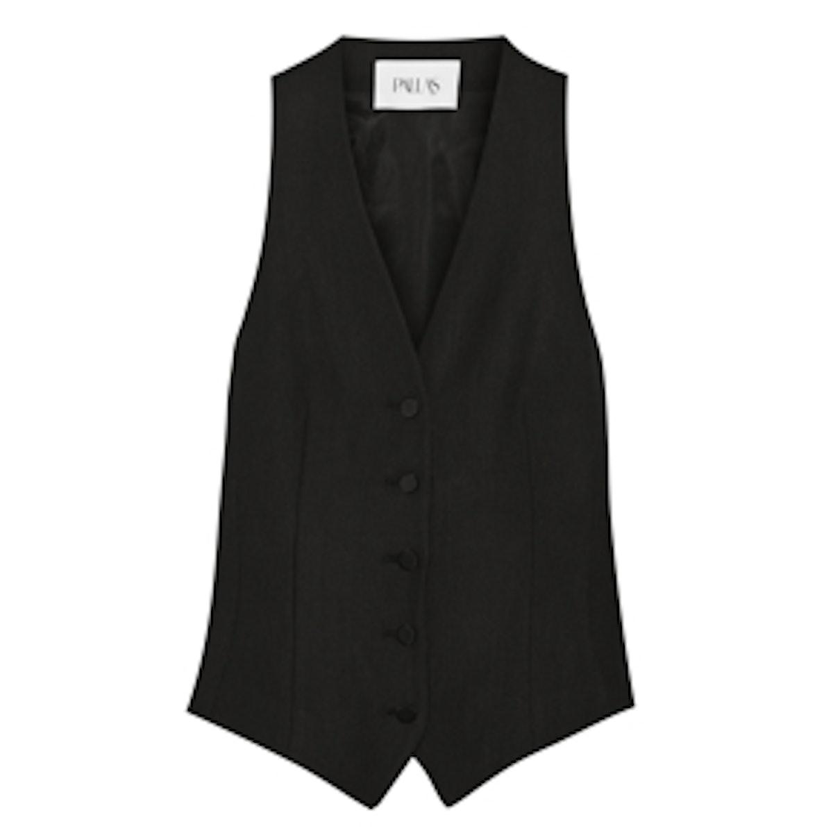 Regulus Satin-Paneled Crepe Vest