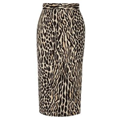 Algras Leopard-Jacquard Pencil Skirt