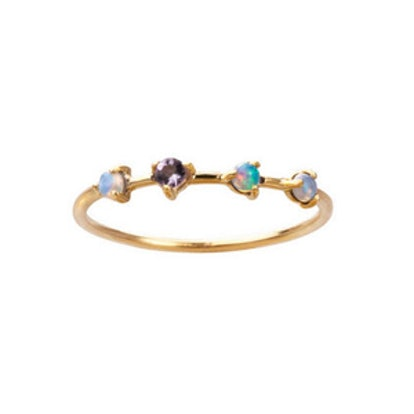 Four Step Opal and Tanzanite Ring