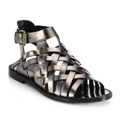 Kalle Woven Metallic Leather Sandals