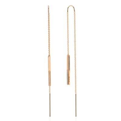 3D Diamond Bar Threader Earring