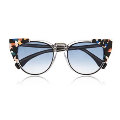Contrast Tip Cat Eye Sunglasses