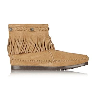 Embellished Fringed Suede Ankle Boots