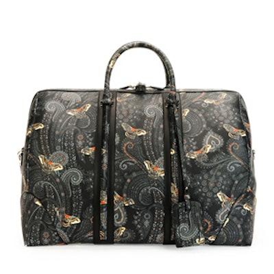 Paisley-Print Leather Weekender Bag