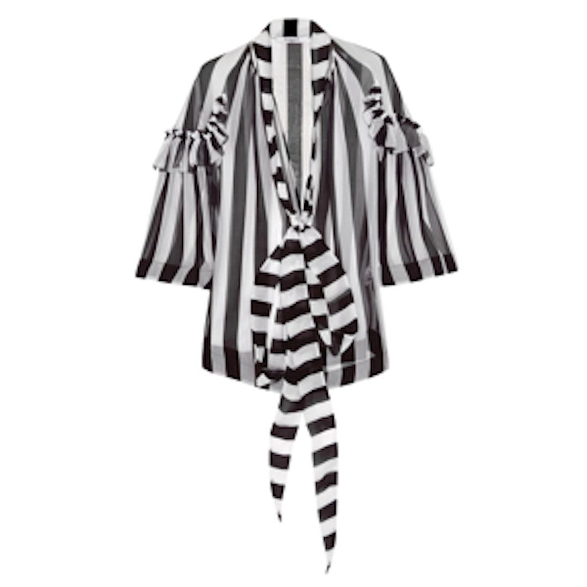 Black and White Stripe Silk Chiffon Blouse