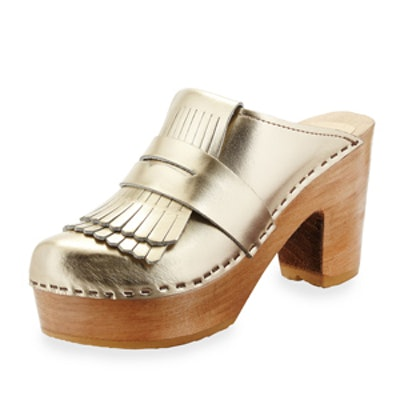 Metallic Leather Kiltie Clog