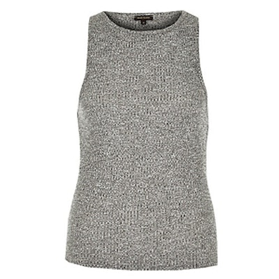 Grey Marl Ribbed Fitted Tank