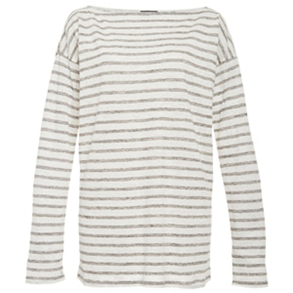 Striped Linen Long Boatneck Tee