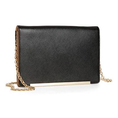 Flap Glazed Saffiano Leather Clutch Wallet